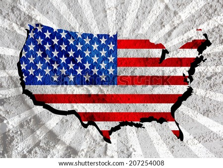 USA map and flag  on Cement wall texture background design