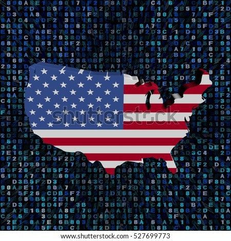 USA map flag on hex code 3d illustration