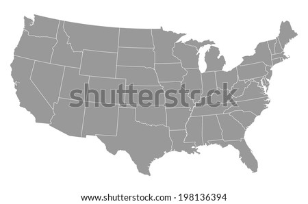 USA map in grey w/ states