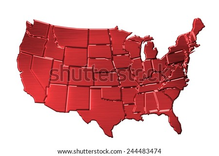 USA map in red metal
