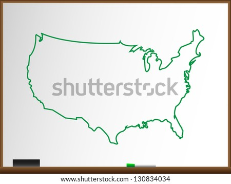 Usa Map Icon Outline Style United Stock Vector - Us map whiteboard
