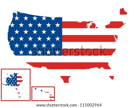 USA Map (United States Flag) - stock photo