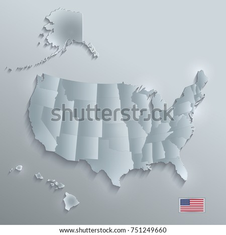Usa Map Alaska Hawaii Separate States Stock Vector 751227268