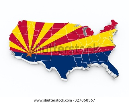 usa map with arizona state flag all over