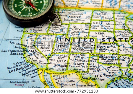 Compass Map Stock Images RoyaltyFree Images Vectors Shutterstock - Us map with compass