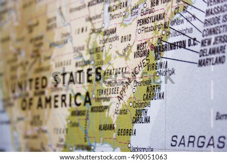 Usa Map Focus On Eastern Coast Stock Photo Shutterstock - Landscape map of usa
