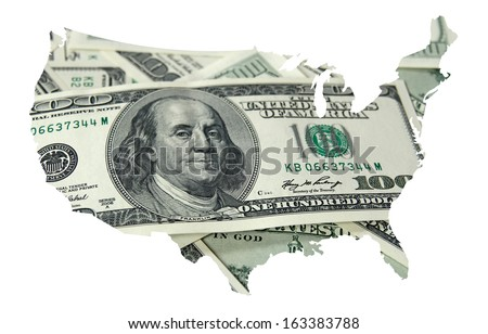 USA map with one hundred dollars background  - stock photo