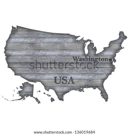 USA Map - Wood - stock photo