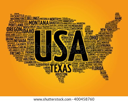 USA Map word cloud made with words cities names, vector collage - stock photo
