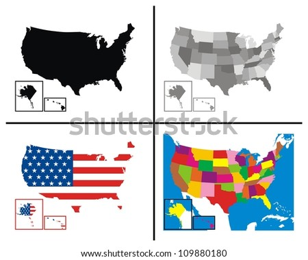 USA Maps Collection - stock photo