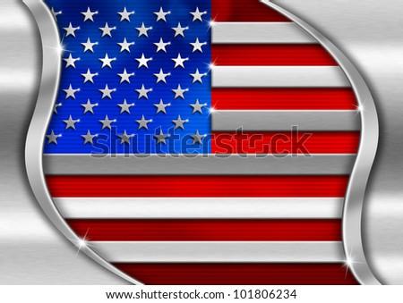 USA Metal Flag / Red blue and metal background national usa metal flag - stock photo