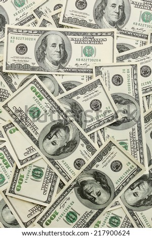 USA money - lots of Lots of hundred dollar banknotes - stock photo
