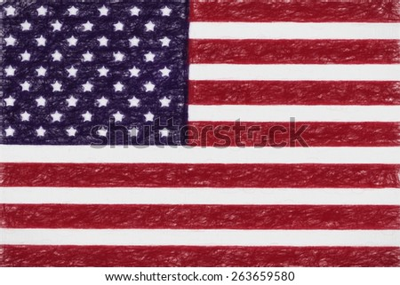 USA national flag in kids Crayon - stock photo