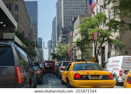 USA, NEW-YORK -?? 25 AUG, 2014: Traffic jam on the street. - stock photo