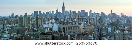 USA, NEW YORK CITY - April 28, 2012: New York City Manhattan skyline aerial view with street and skyscrapers - stock photo