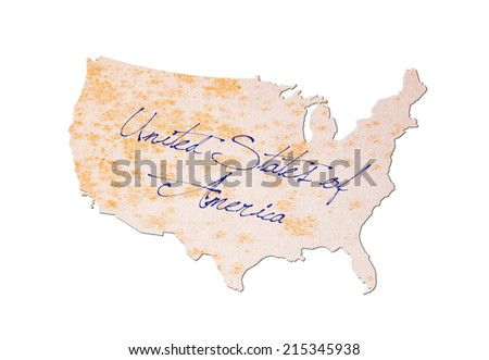 USA - Old paper with handwriting, blue ink - stock photo