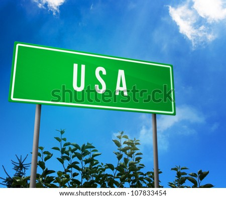 USA on Road Sign