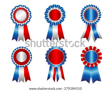 USA patriotic award ribbon resettes clipart collection isolated on white - stock photo
