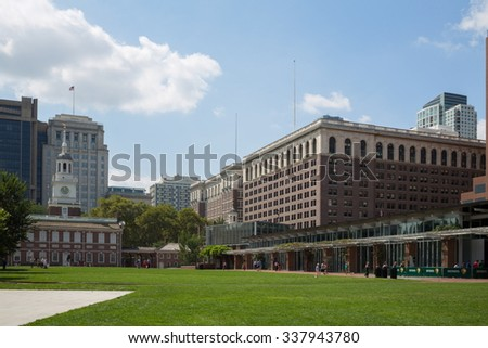 USA, PHILADELPHIA - SEP 02, 2014: Independence Hall, Congress Hall and Liberty Bell Center at autumn sunny day.