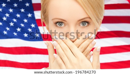 usa politics, conspiracy and secrecy concept - woman with hands over mouth on american flag background - stock photo