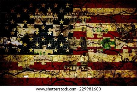 Usa puzzle flag  - stock photo