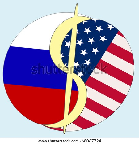 USA - Russia Dollar sign. Symbol to show the relationship and dependency between USA and Russia.