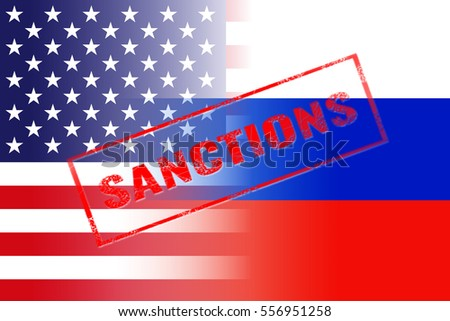 usa russia flags, sanctions red stamp