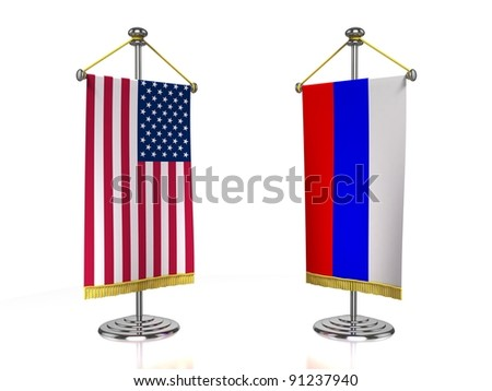 USA Russia meeting 3d concept - stock photo