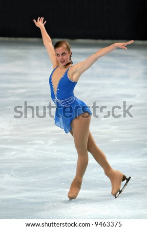 USA's Ashley Wagner performs during the ladies short skating event of the Eric Bompard trophy. This is Ashley's season 2007/2008 short program. - stock photo