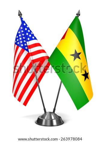 USA, Sao Tome and Principe - Miniature Flags Isolated on White Background. - stock photo
