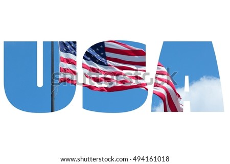 USA sign - United States country name with background photo.