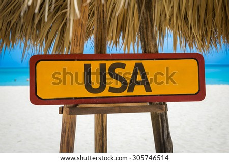 USA sign with beach background - stock photo