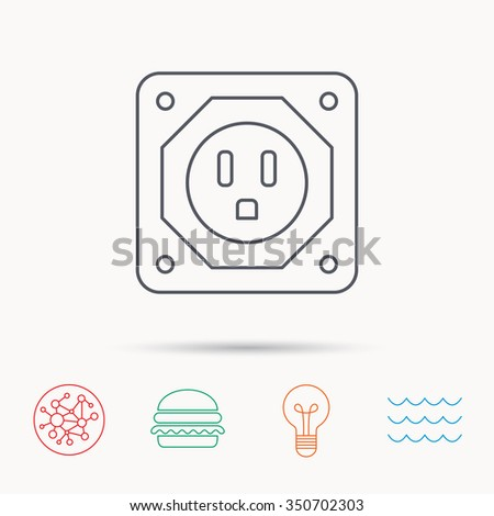 USA socket icon. Electricity power adapter sign. Global connect network, ocean wave and burger icons. Lightbulb lamp symbol.