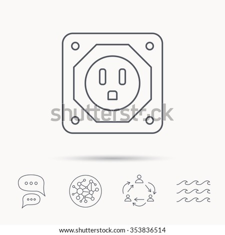 USA socket icon. Electricity power adapter sign. Global connect network, ocean wave and chat dialog icons. Teamwork symbol.