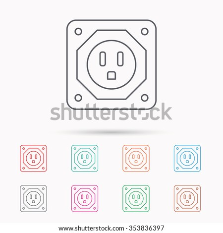 USA socket icon. Electricity power adapter sign. Linear icons on white background.