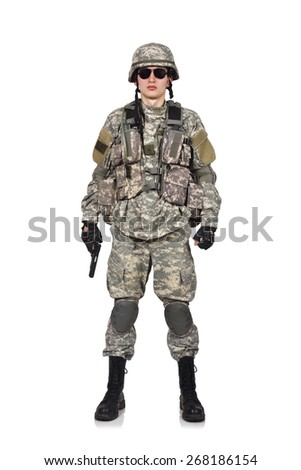 USA soldier with gun standing on a white background - stock photo