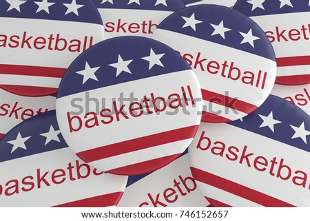 USA Sports Badges: Pile of Basketball Buttons With US Flag, 3d illustration