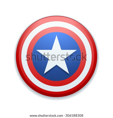 USA star button - stock photo
