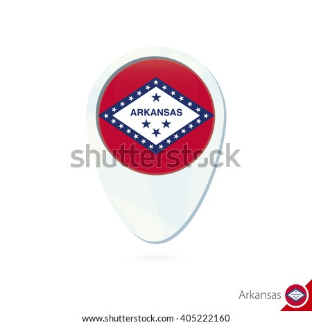 USA State Arkansas flag location map pin icon on white background. Raster copy. - stock photo