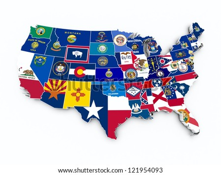 usa state flags on 3d map