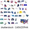 usa state flags on 3d maps - stock vector