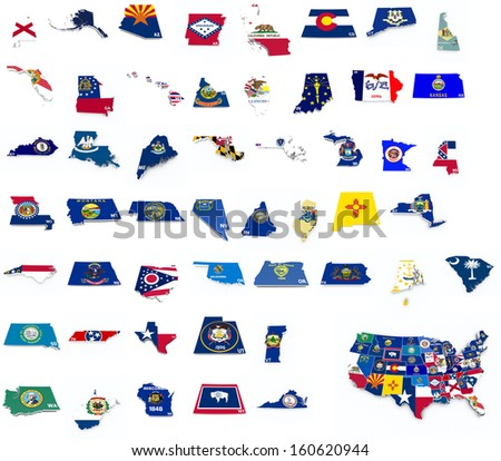 usa state flags on 3d maps - stock photo
