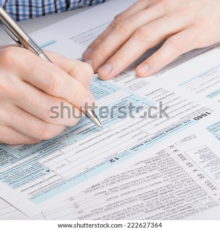 USA 1040 Tax Form - 1 to 1 ratio - stock photo