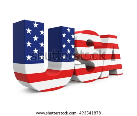 USA text in american flag colors - 3D rendering
