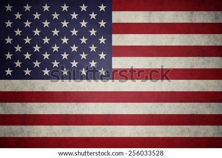 USA, United States of America flag on concrete textured background - stock photo