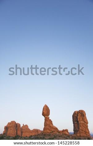 USA Utah Balanced Rock at Arches National Park - stock photo