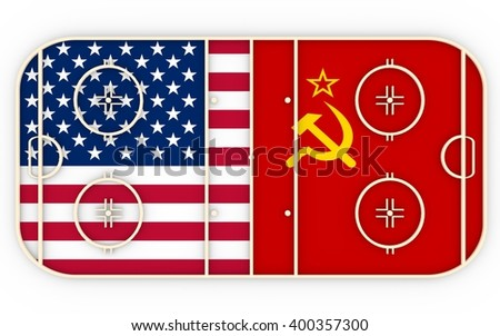 USA vs USSR. Ice hockey history competition. National flags on playground. 3D rendering - stock photo