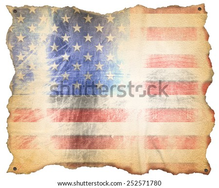 USA Weathered Flag. Weathered American flag on a old brown parchment with nails. Isolated on white background - stock photo