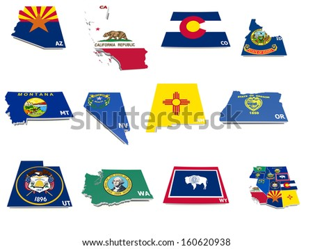 usa west states flags on 3d maps - stock photo