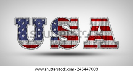 USA Wooden Sign - stock photo